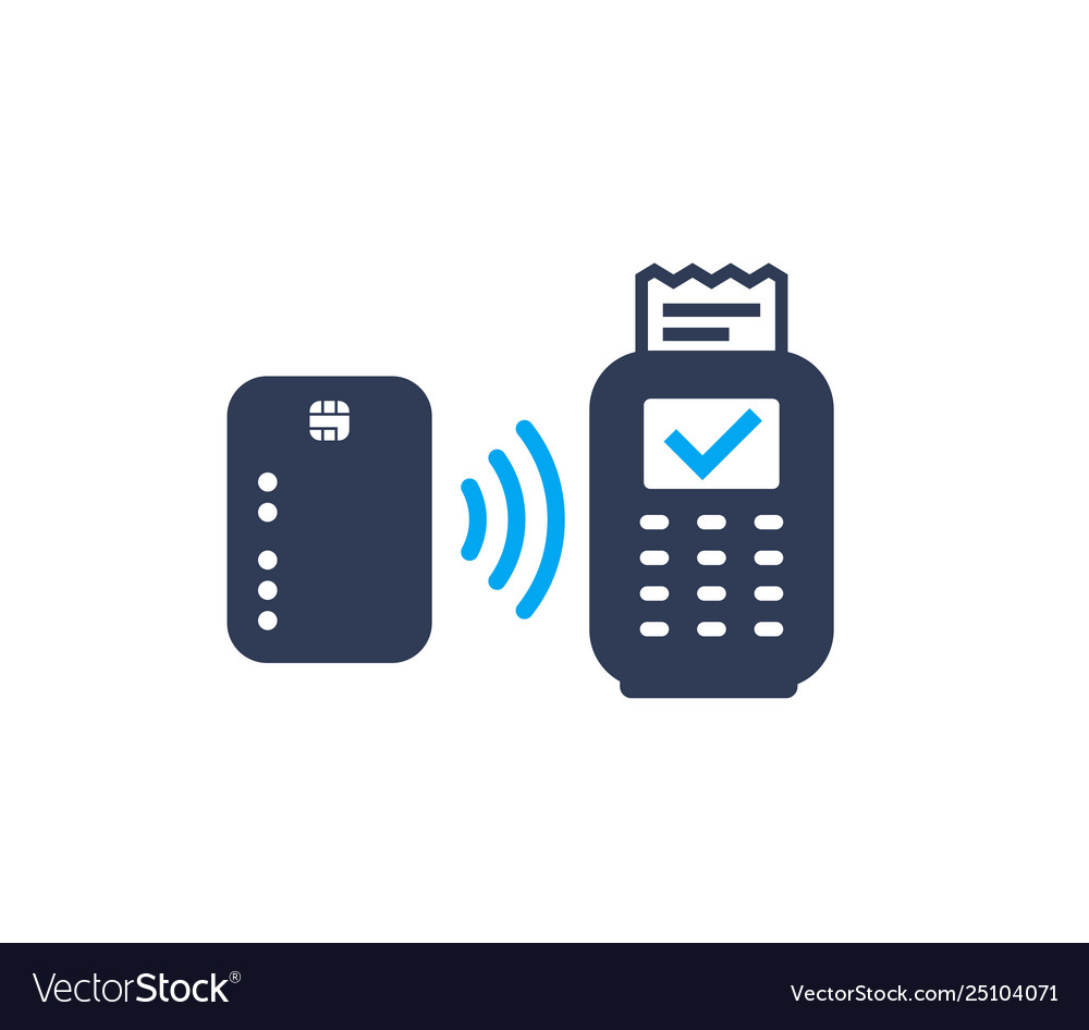 Contactless payment card and pos terminal icon