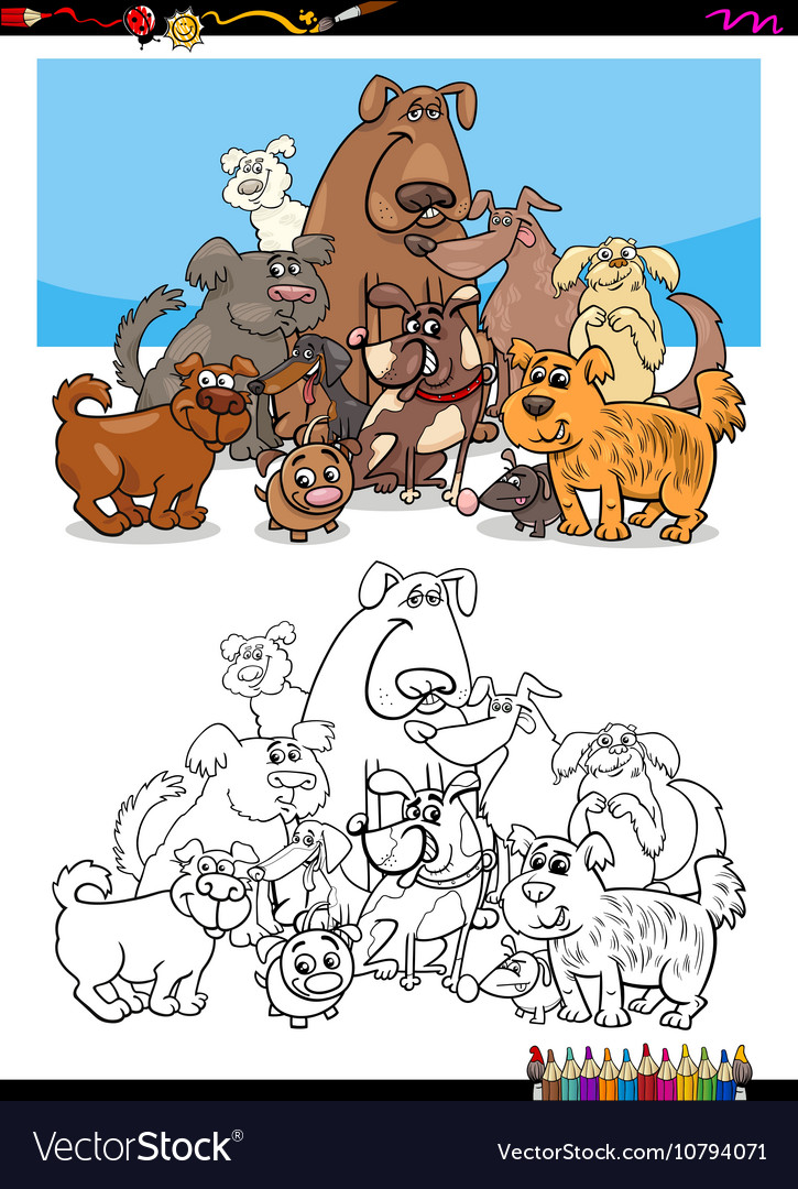 Dog character group for coloring vector image