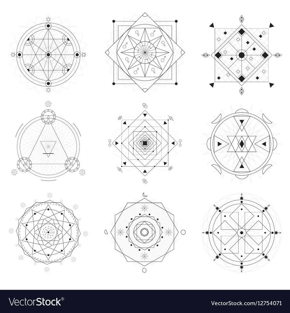 Geometry Symbols Black Thin Line Set