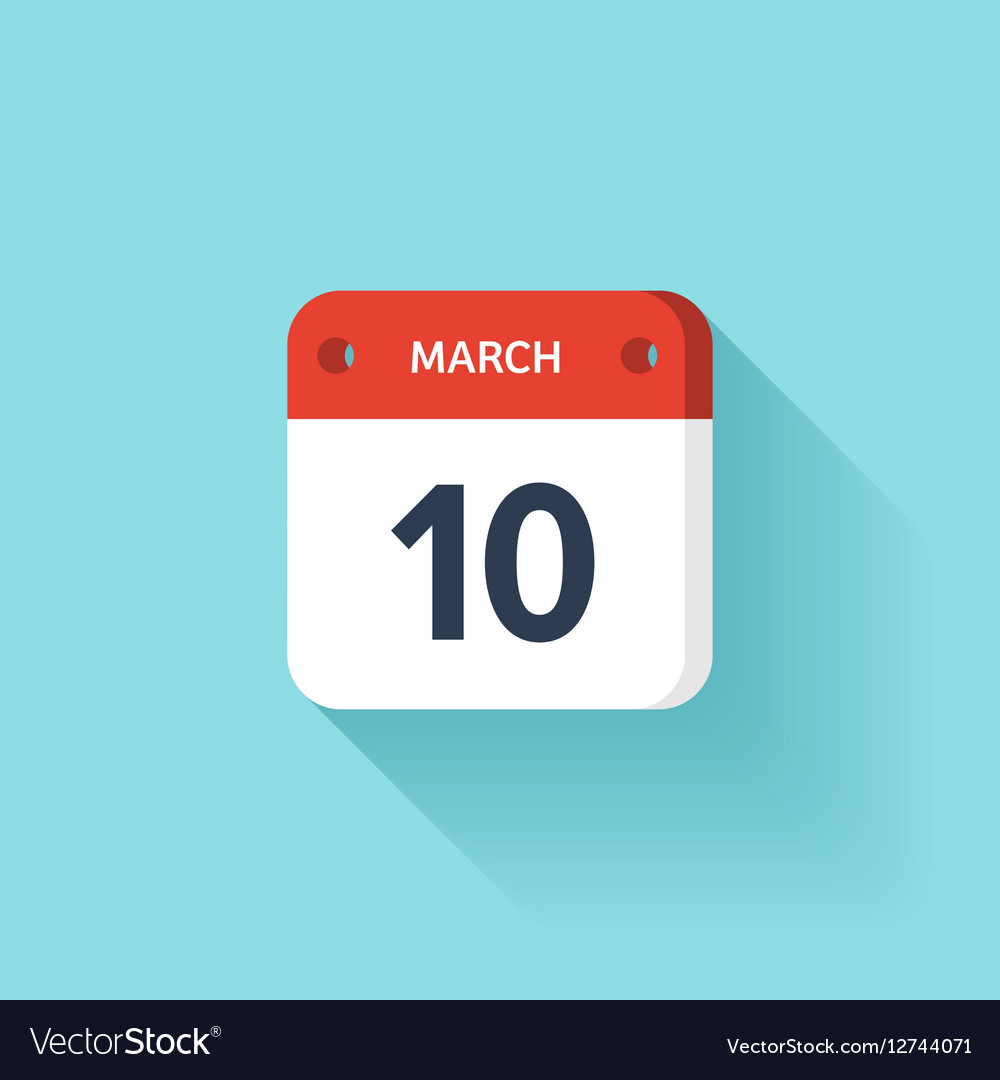 March 10 Isometric Calendar Icon With Shadow
