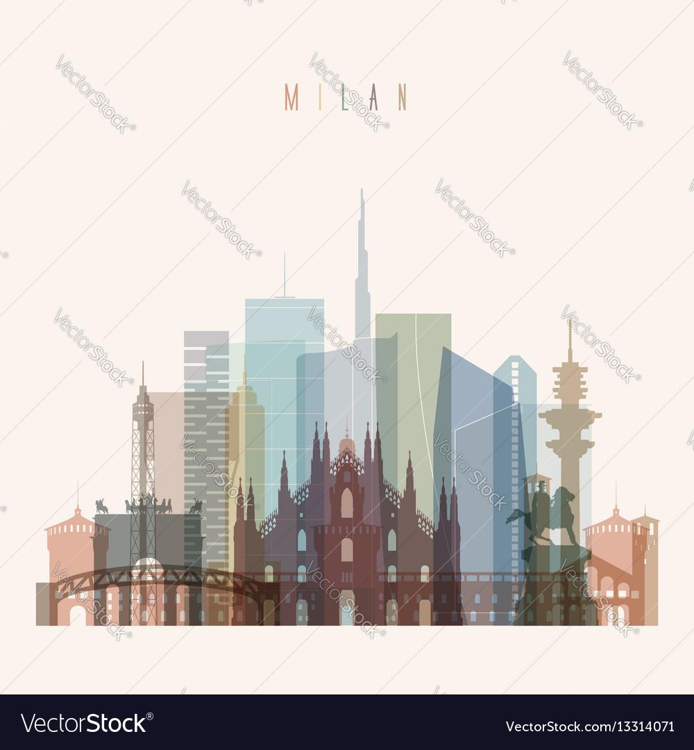 Milan skyline detailed silhouette vector image