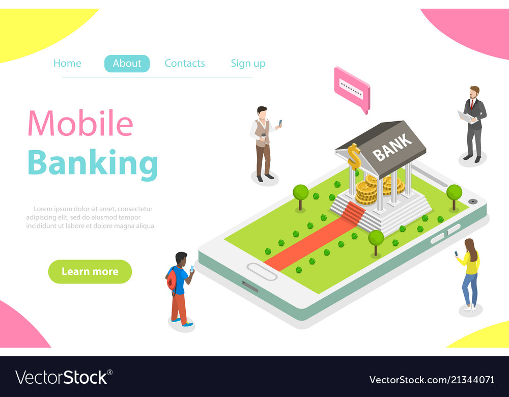 Online banking flat isometric concept