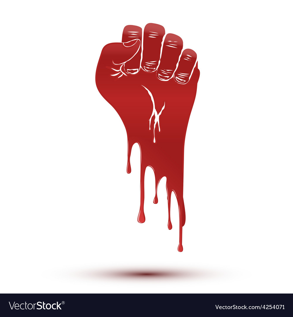 Symbol blood flow of clenched fist held in protest