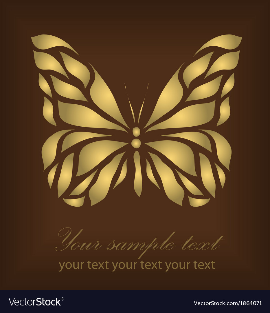 Vintage gold beautiful butterfly