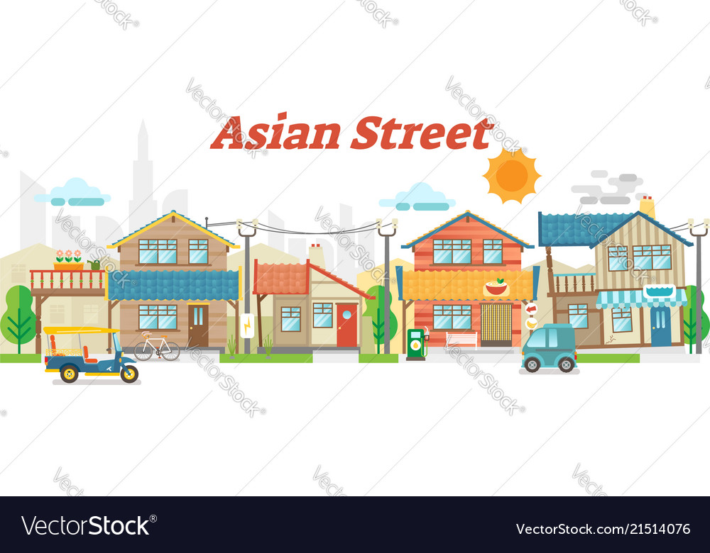 Asian town street outdoor scene with buildings