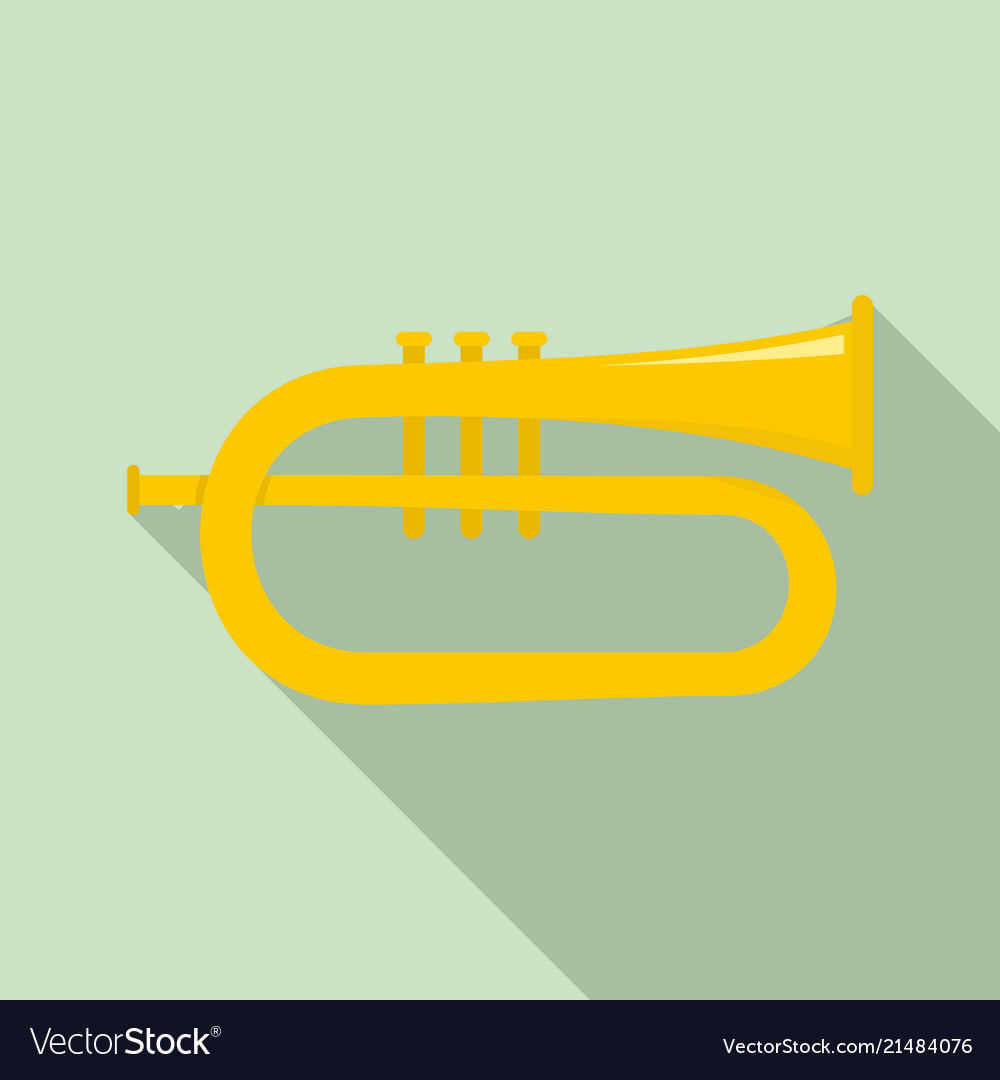 Bass trumpet icon flat style