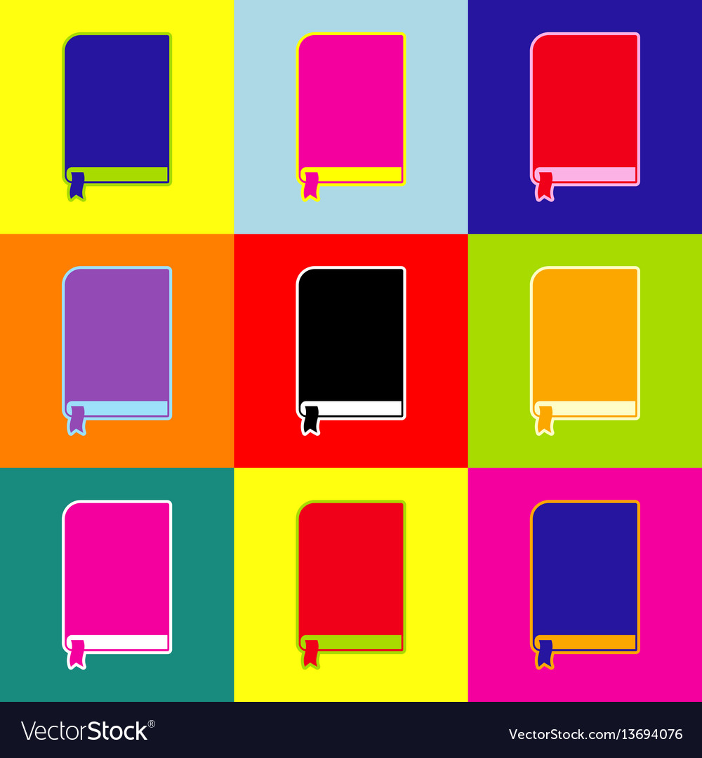 Book sign pop-art style colorful icons