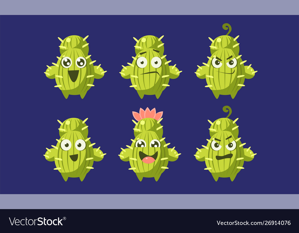 Cute cactus characters set funny emojis with