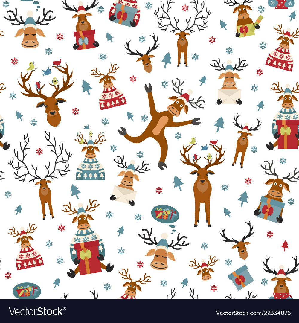 Cute reindeer flat seamless pattern elements for