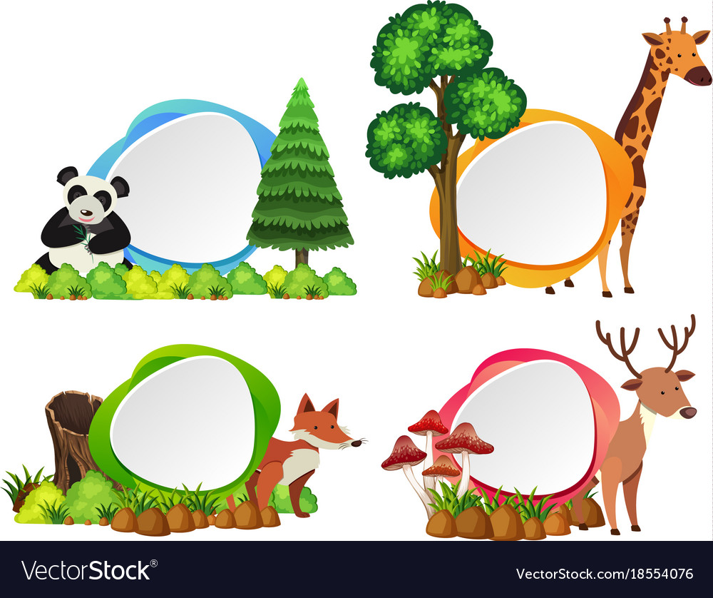 Four Label Templates With Wild Animals Vector Image