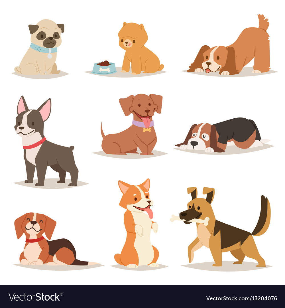 Funny cartoon dogs characters different breads