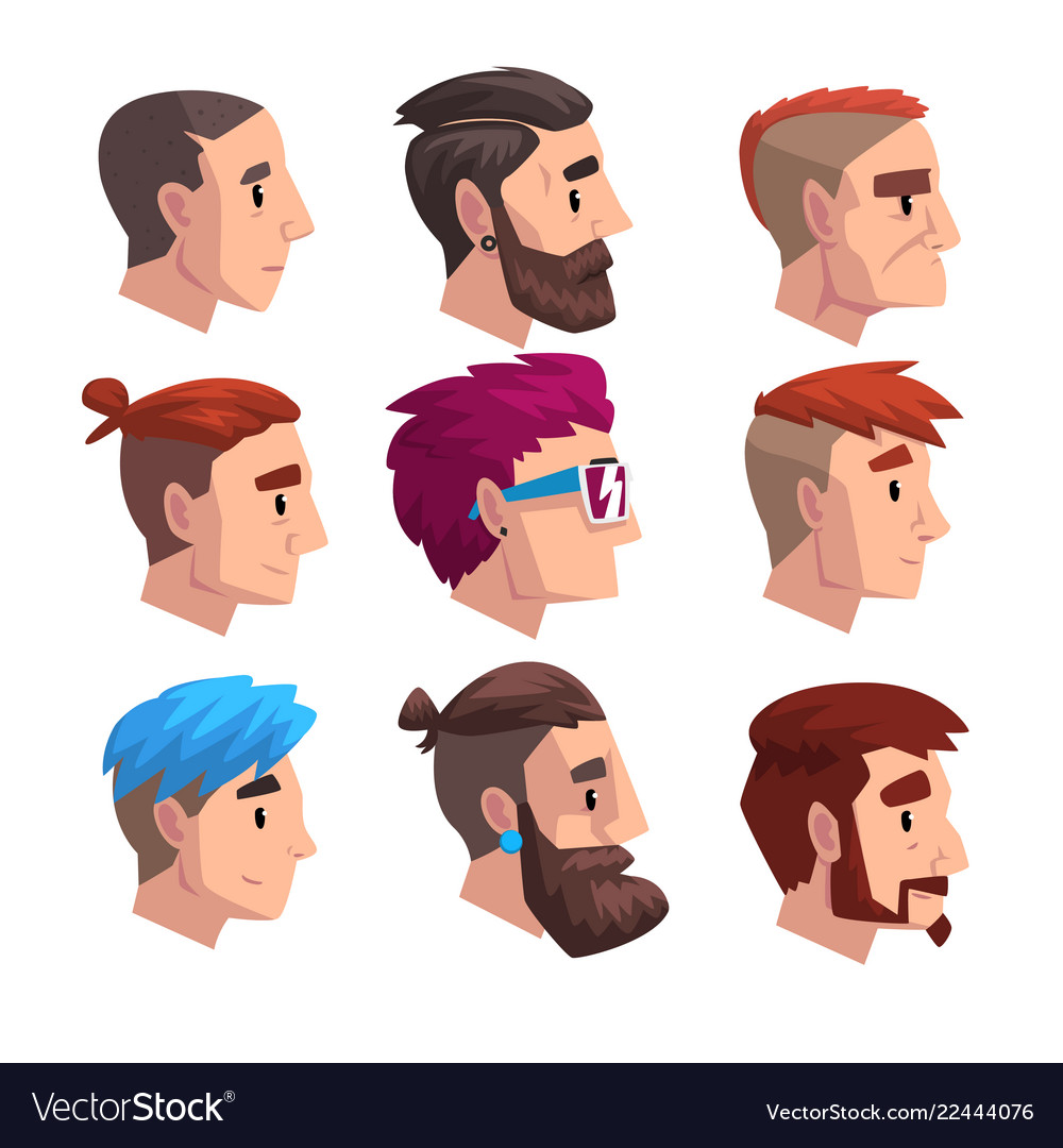 Head of young man with fashion hairstyles set