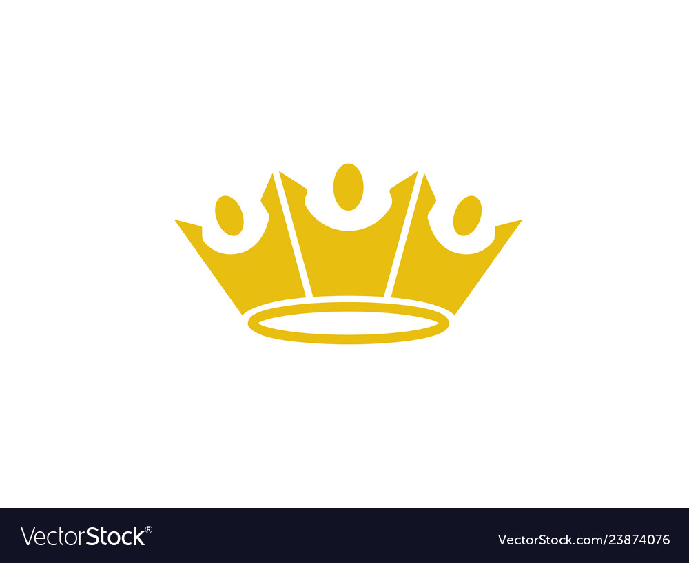 King crown three happy people logo design