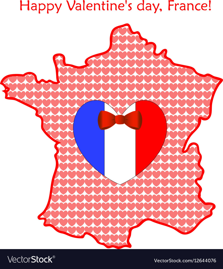 Map of France with flags and hearts