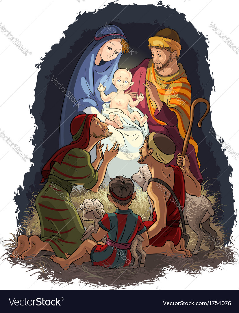 Nativity scene jesus mary joseph shepherds