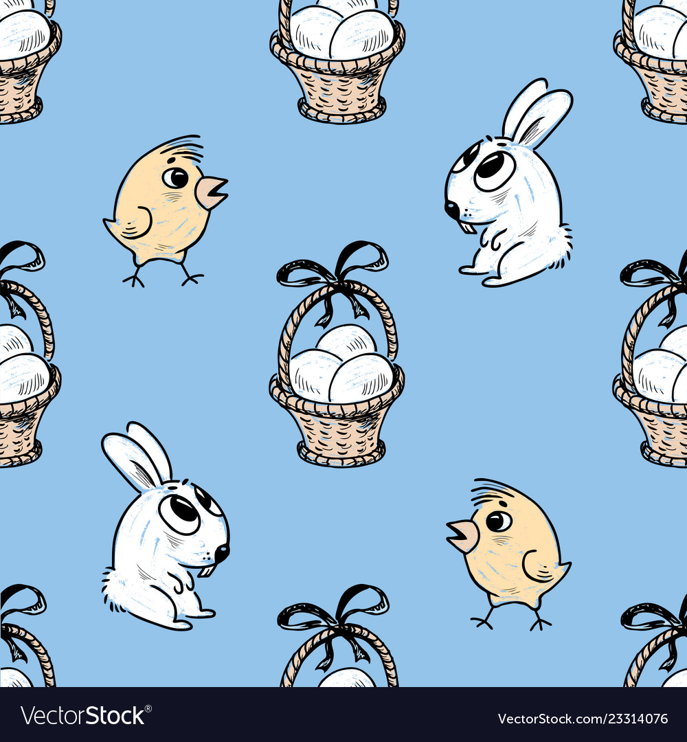 Pattern of the easter baskets chicks and bunnies