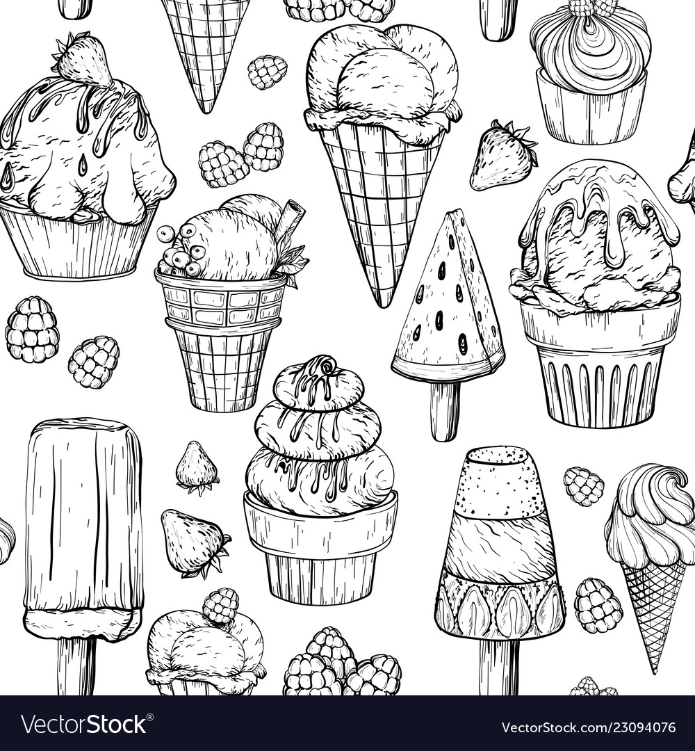 seamless pattern with ice cream black and white vector image vectorstock