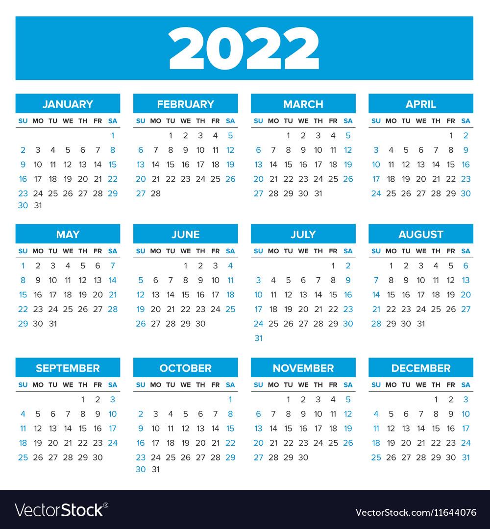 2022 Annual Calendar.Simple 2022 Year Calendar Royalty Free Vector Image