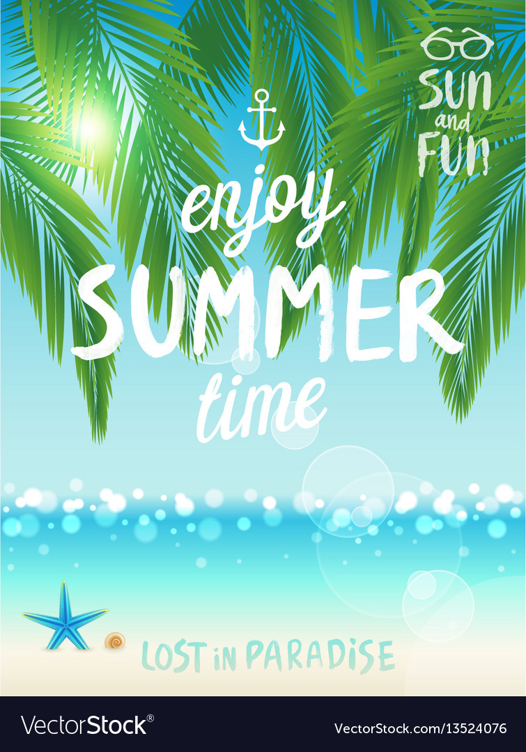 Tropical beach poster enjoy summer