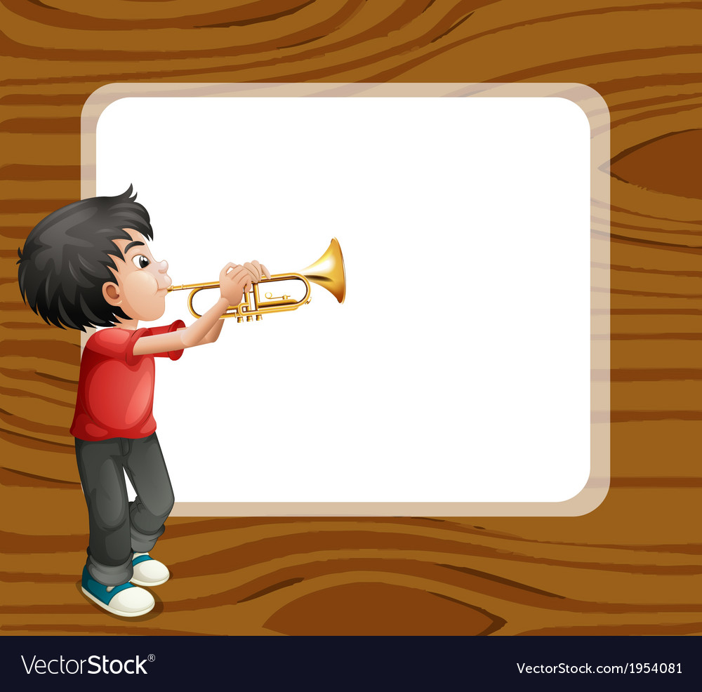 A boy playing with his trombone in front of an vector image