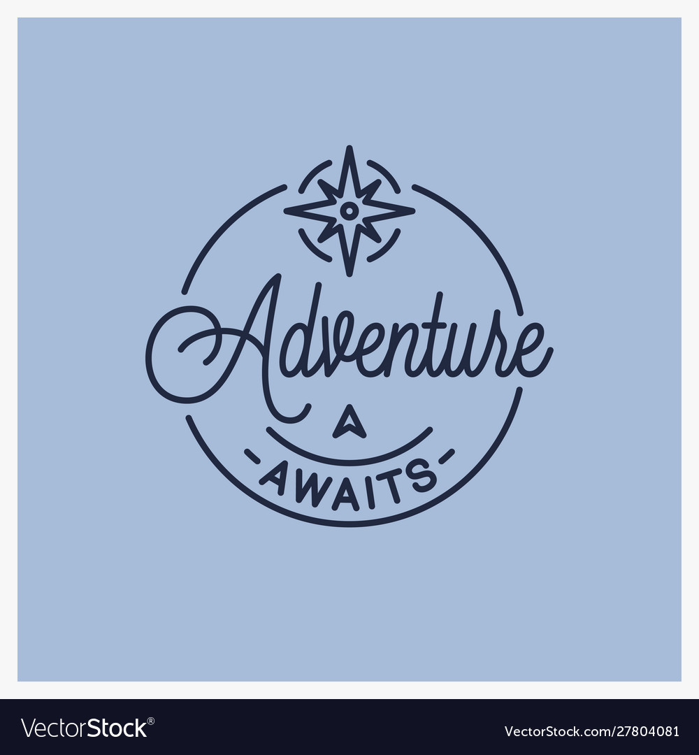 Adventure awaits logo round linear adventure