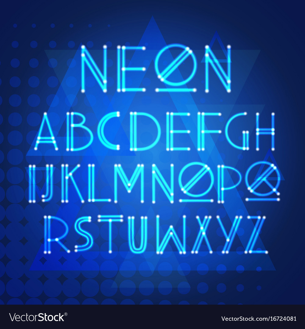Alphabet neon letters collection text lettering