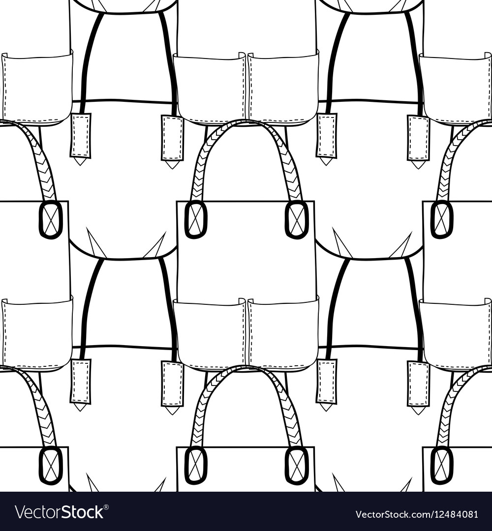 Black and white seamless pattern with fashion bags