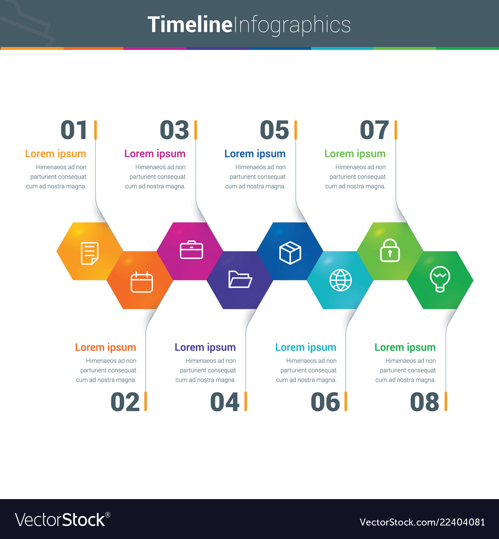 Clean and colourful timeline infographics