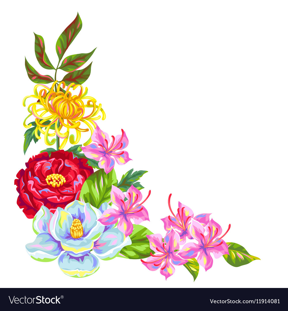 Decorative element with China flowers Bright buds