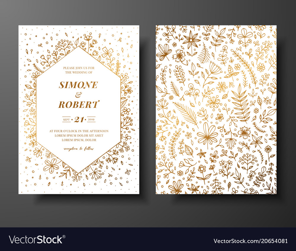 Golden wedding invitation with hand drawn vector