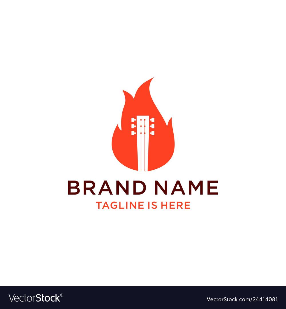 Guitar fire logo design