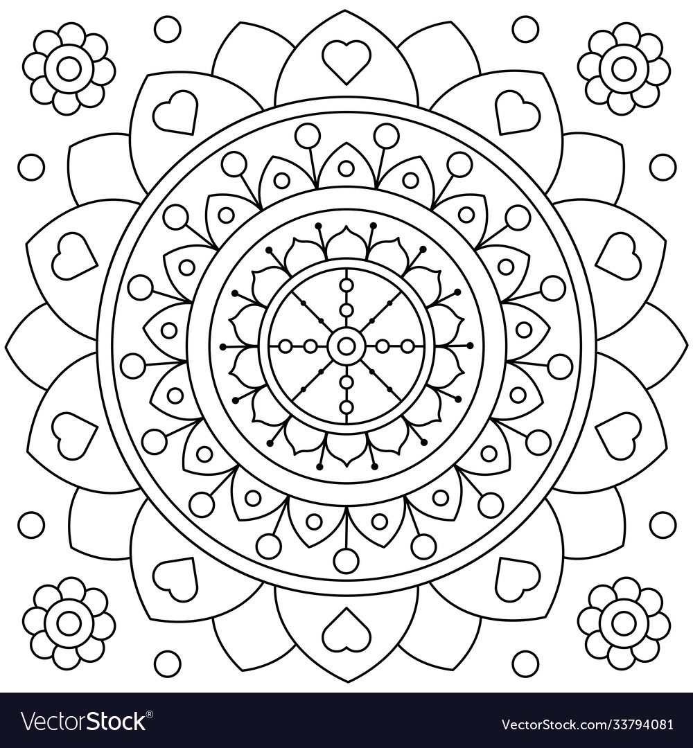 Mandala coloring page black and white
