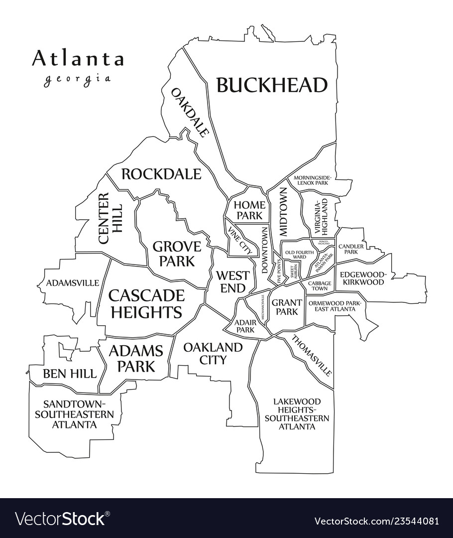 Modern city map - atlanta georgia city of the usa