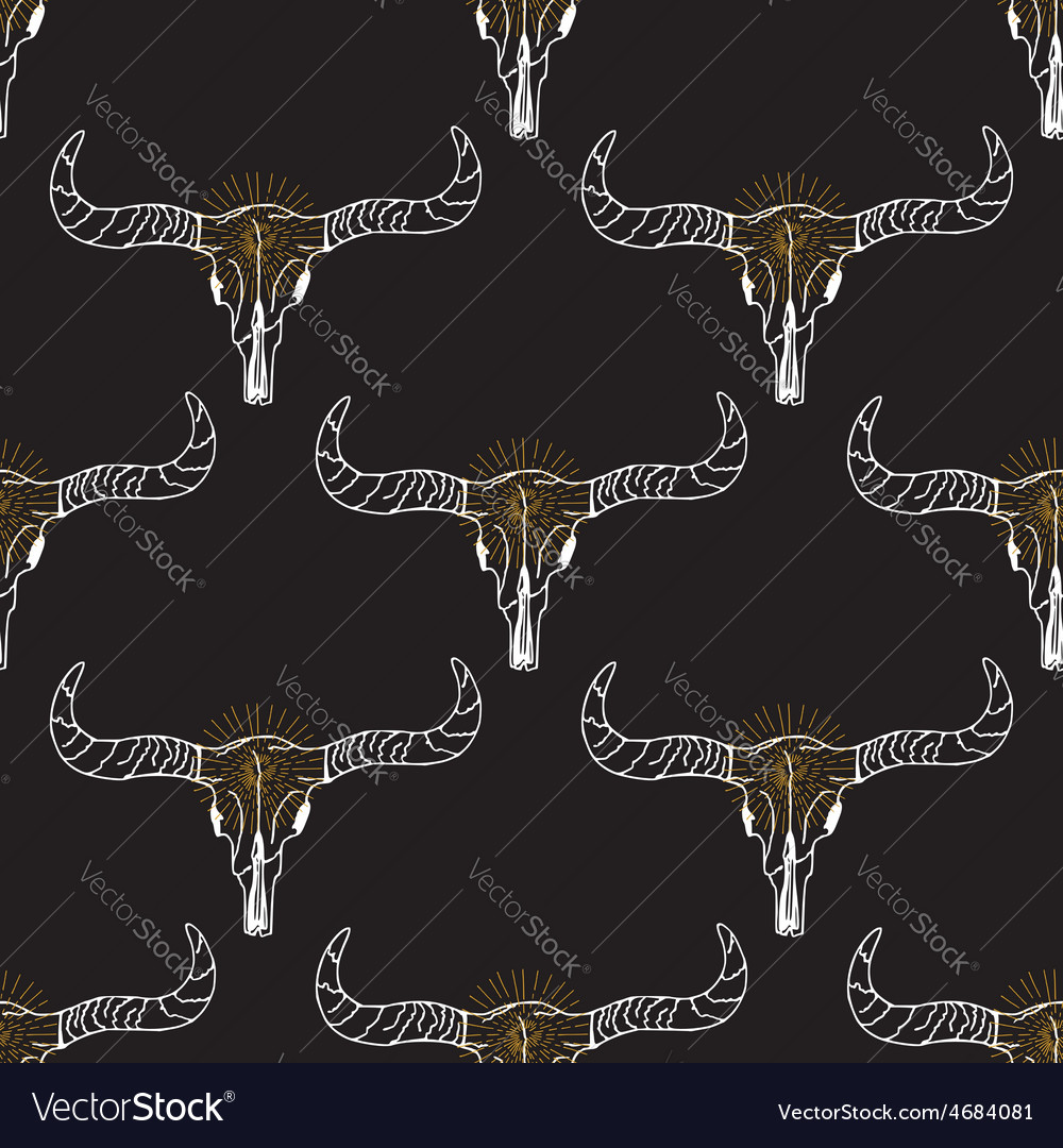 Seamless pattern background longhorn skull