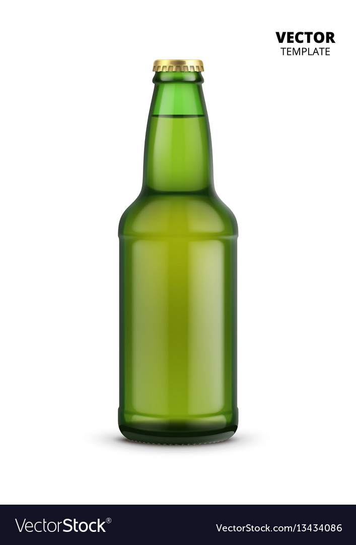 Beer bottle glass mockup isolated