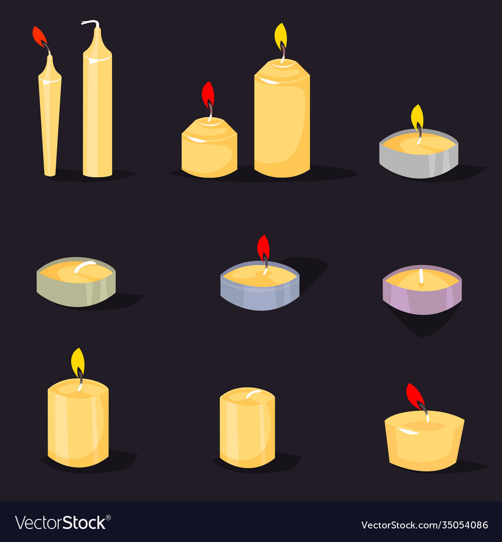 Candles in a flat style cartoon burning