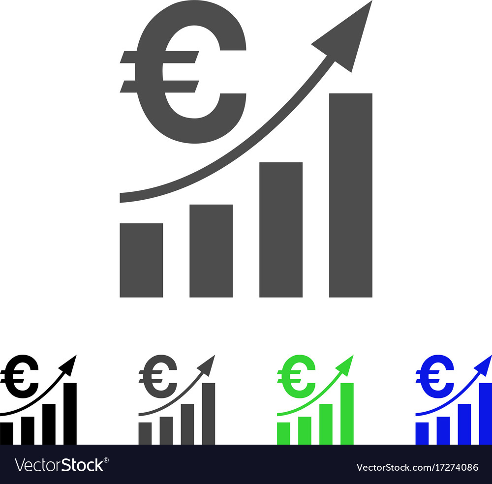 Euro Bar Chart Trend Icon Vector Image