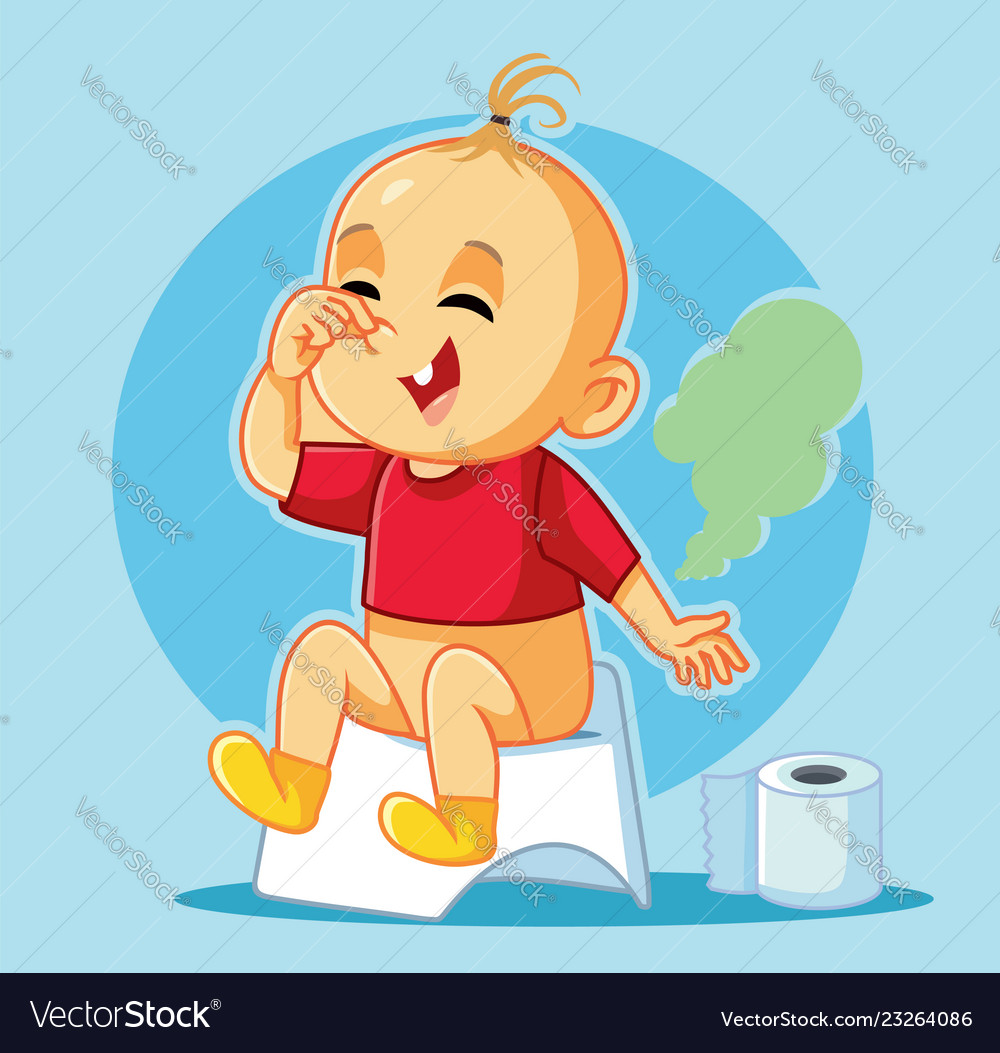 Funny Baby Sitting On The Potty Cartoon Royalty Free Vector