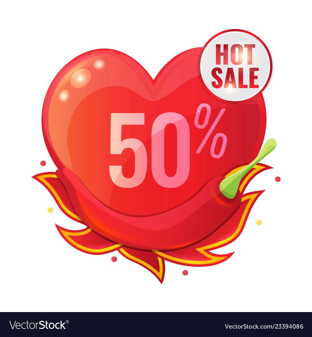 Hot sale concept with red pepper and flame