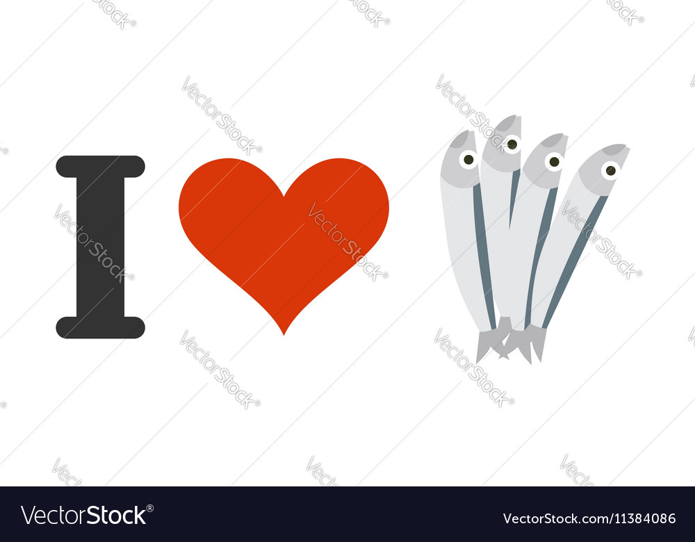 I love anchovies Heart and small fish Logo for vector image