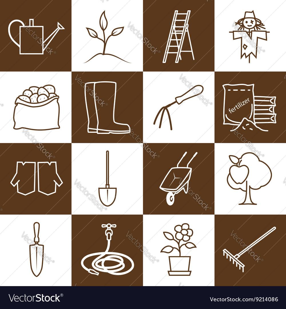 Line Brown Icons Gardening Equipment