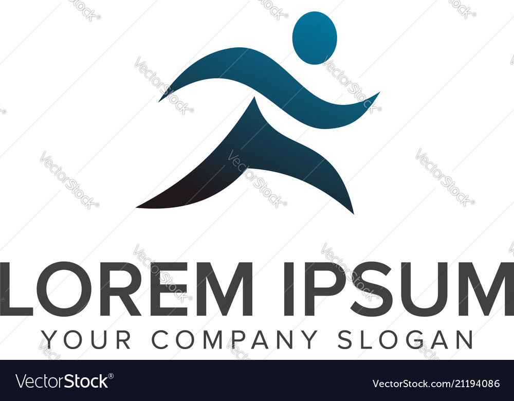 Running people people logo design concept template