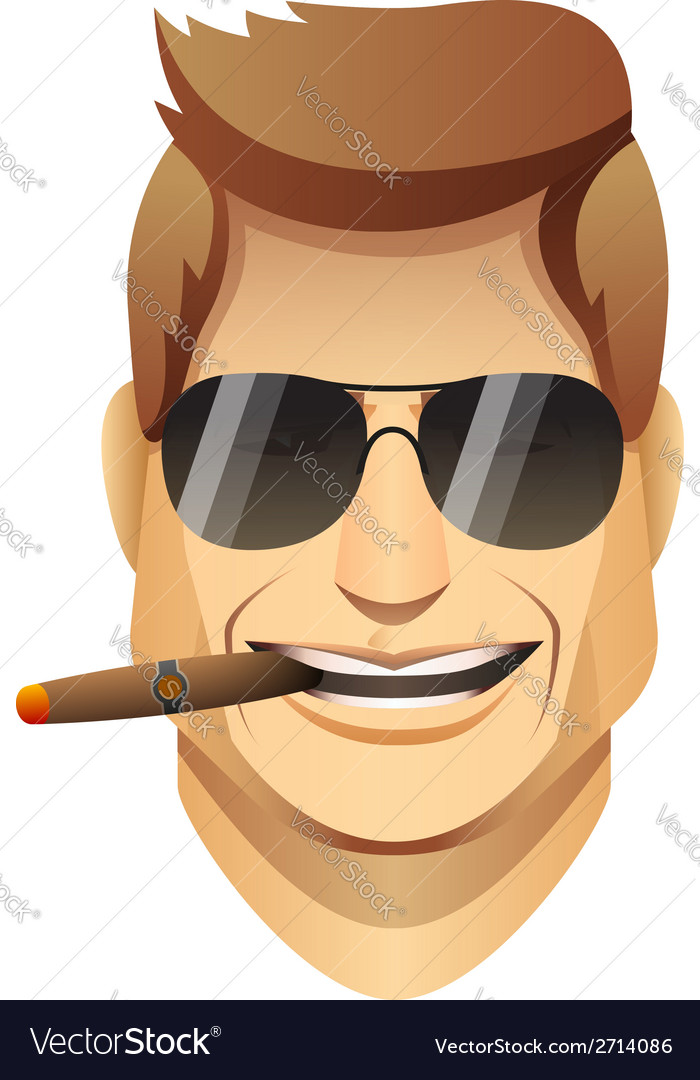 Smiling male faces with sunglasses and cigar vector image