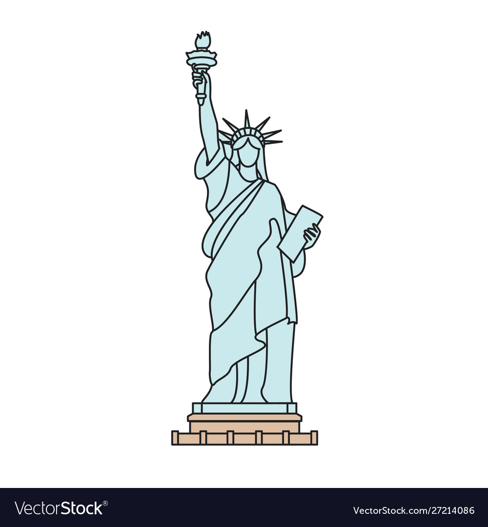 Statue liberty new york outline isolated on vector