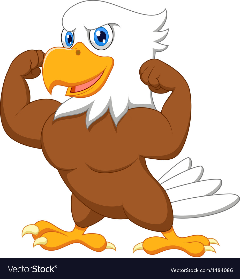 Strong eagle cartoon vector image