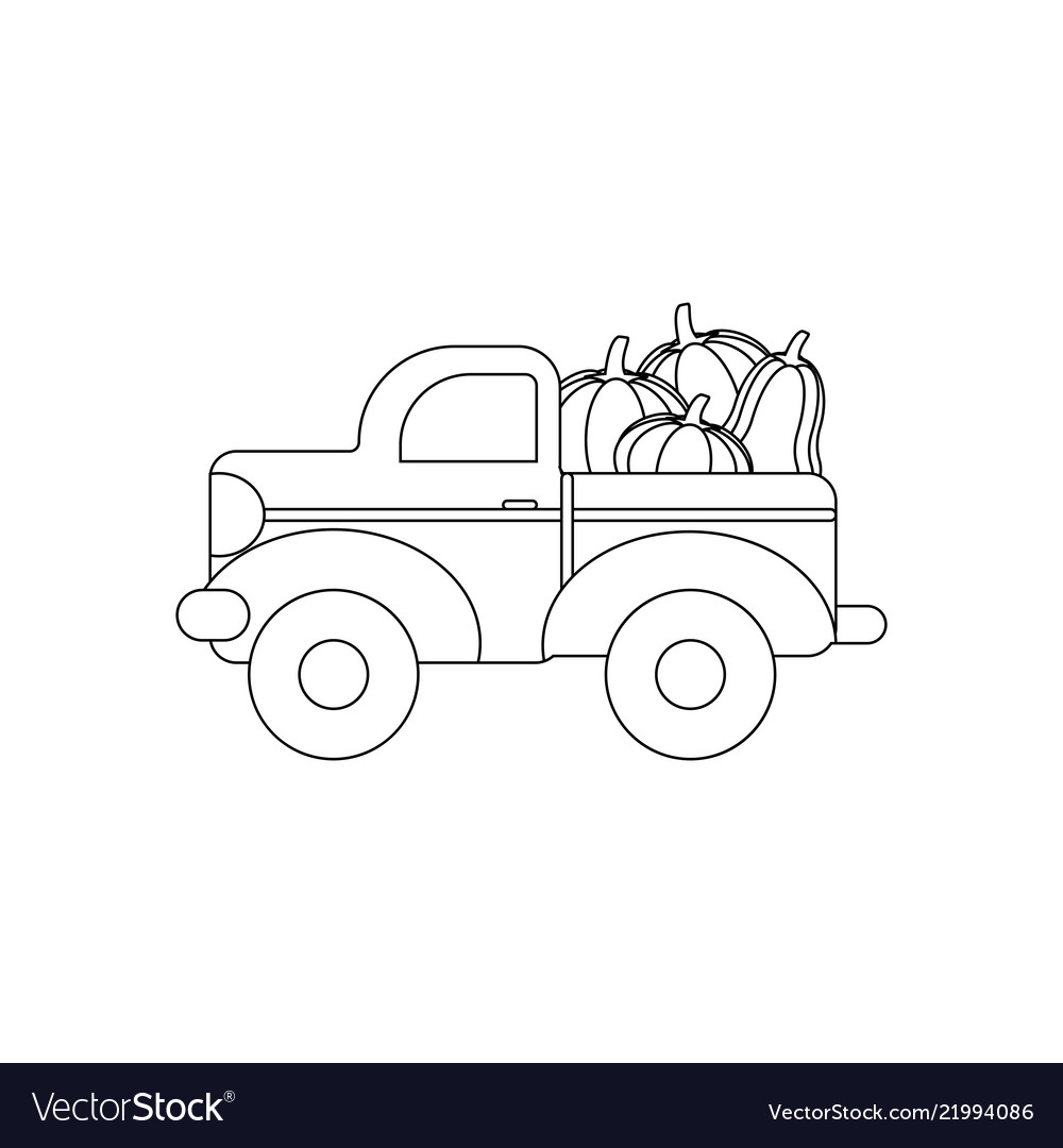 Truck With Pumpkins Coloring Page Royalty Free Vector Image
