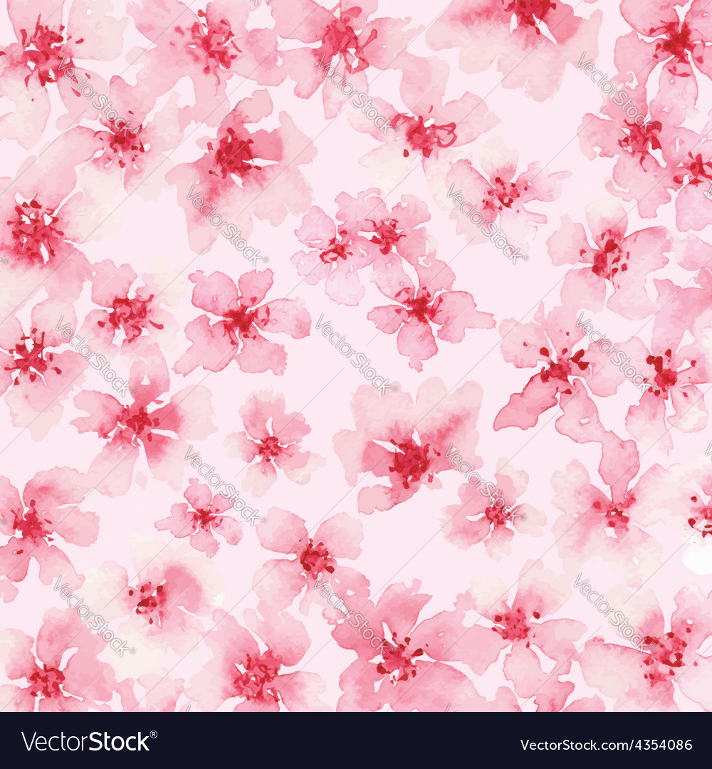 Watercolor Background Of Pink Flowers Royalty Free Vector