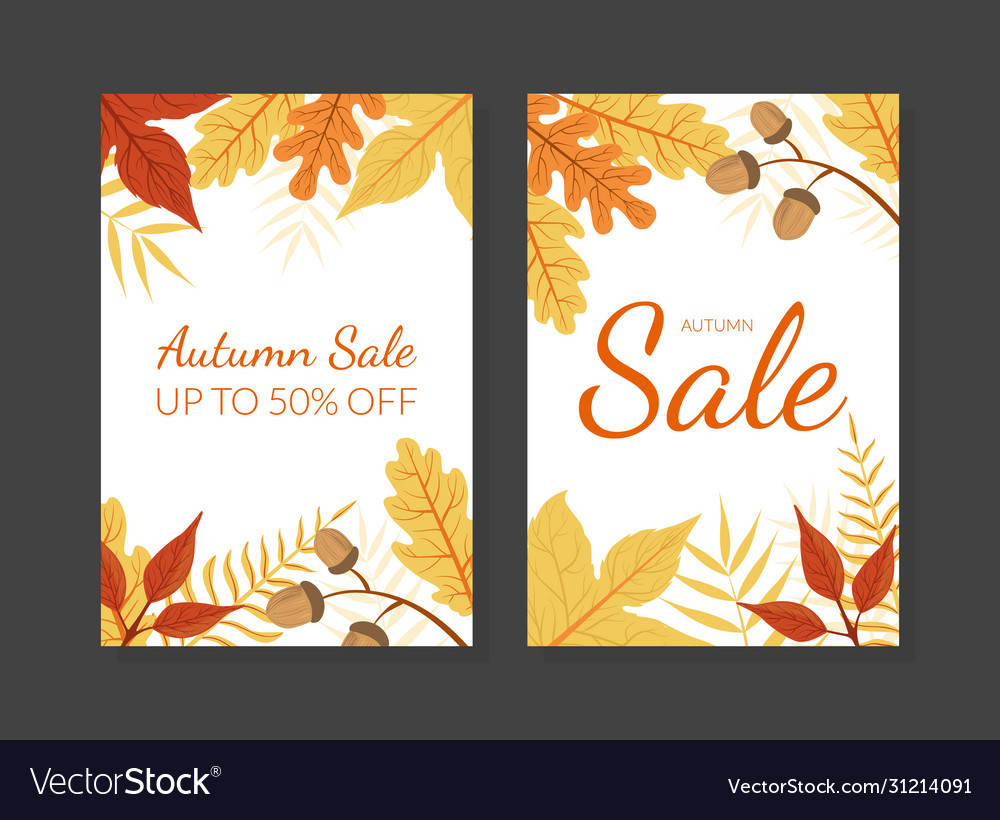 Autumn sale card template with colorful leaves