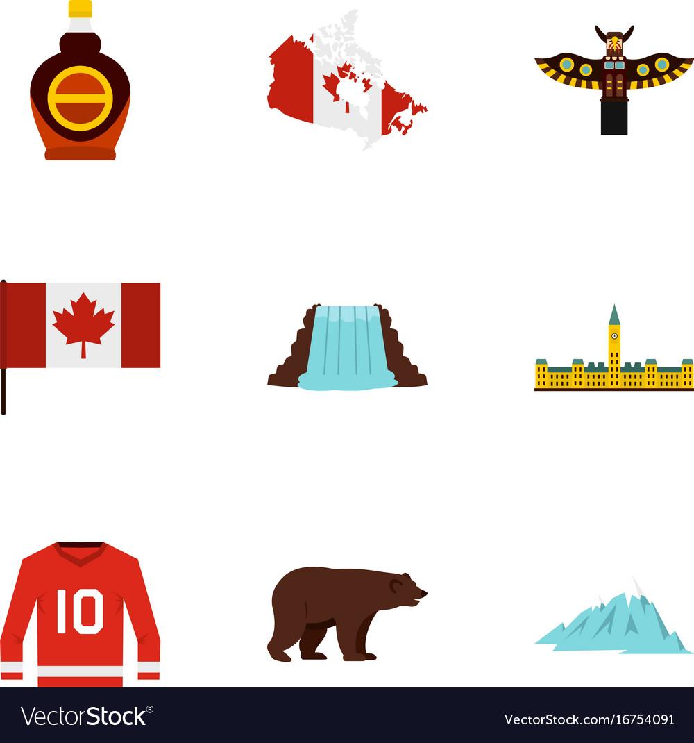 Canada travel icon set flat style