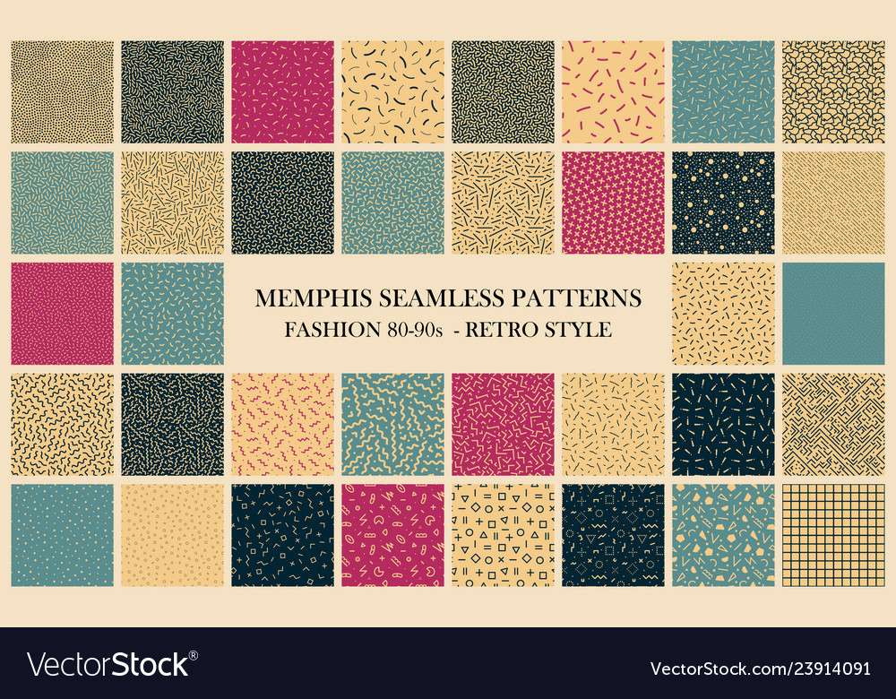 Collection of memphis seamless patterns